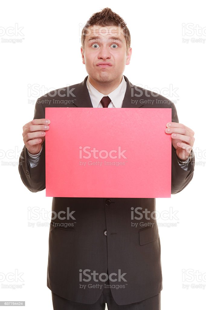Funny business man holding sign red blank stock photo