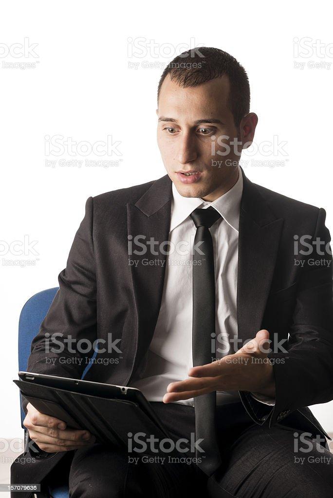 Funny businessman on white background. royalty-free stock photo