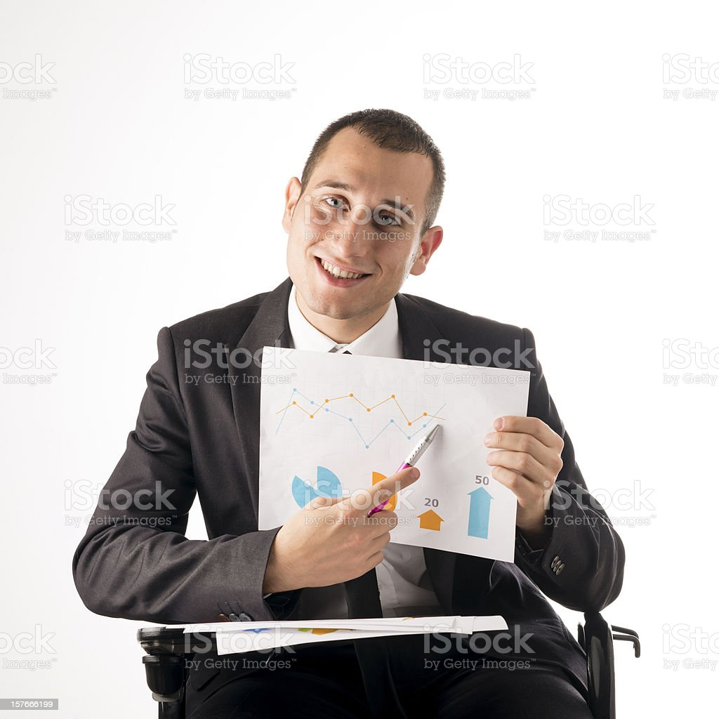 Funny businessman on white background. royalty-free stock photo