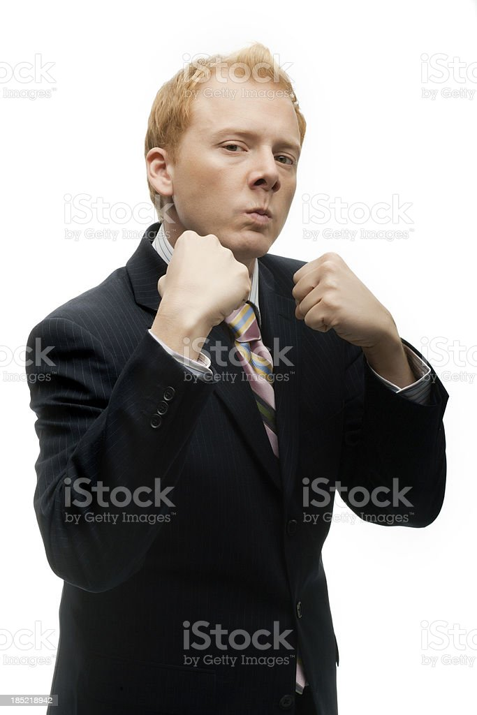 Funny Businessman ready to box on White royalty-free stock photo