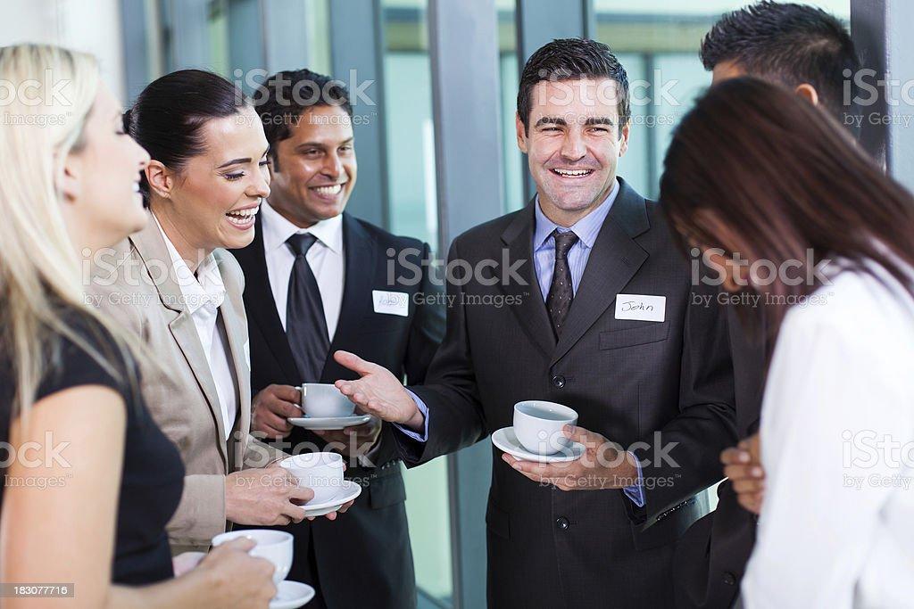 funny businessman telling a joke royalty-free stock photo