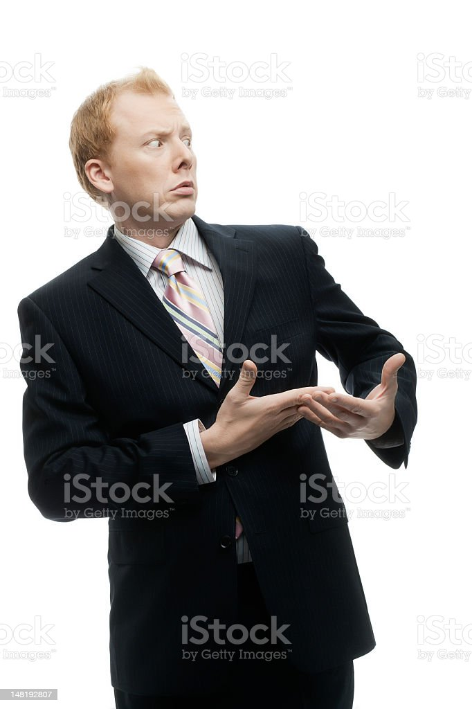Funny Businessman with a confused expression on White royalty-free stock photo