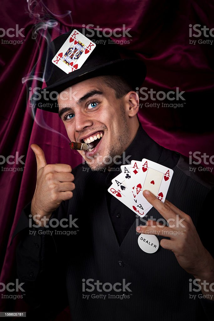 Funny card dealer with thubs up royalty-free stock photo