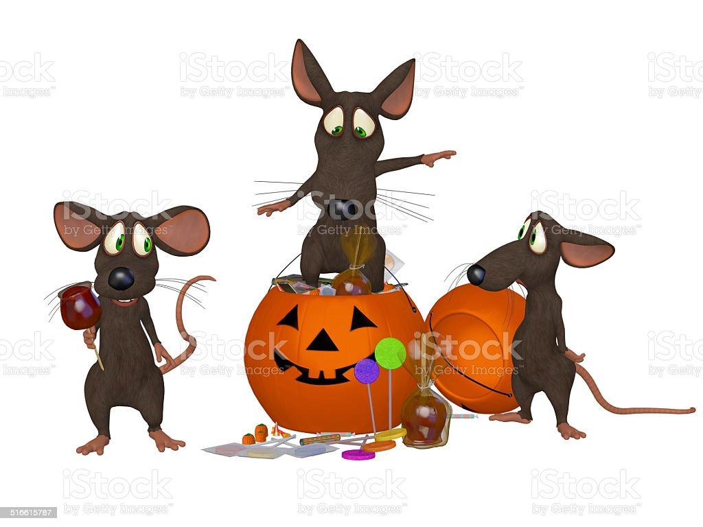 funny cartoon mouse celebrating Halloween stock photo