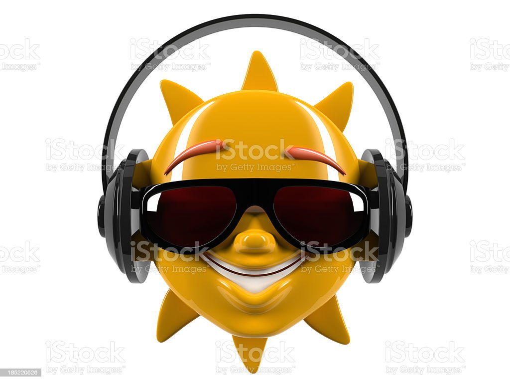 Funny cartoon smiley sun in glasses stock photo