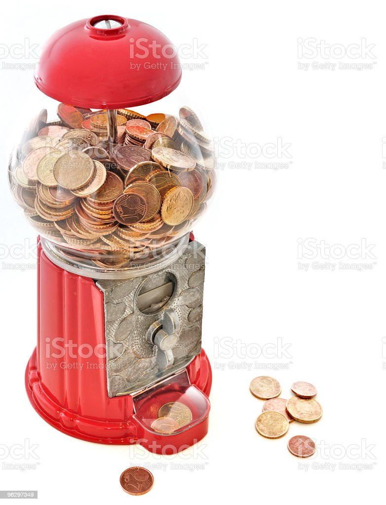 Funny Cash Machine Full of Coins, Top View, with Copyspace stock photo