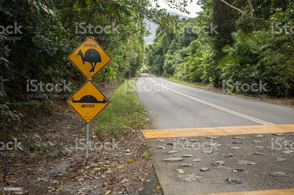 Funny cassowary road sign stock photo