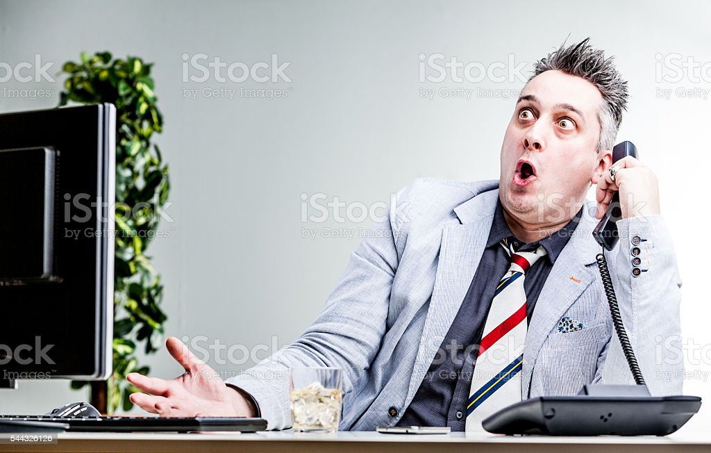 funny character of shocked businessman stock photo