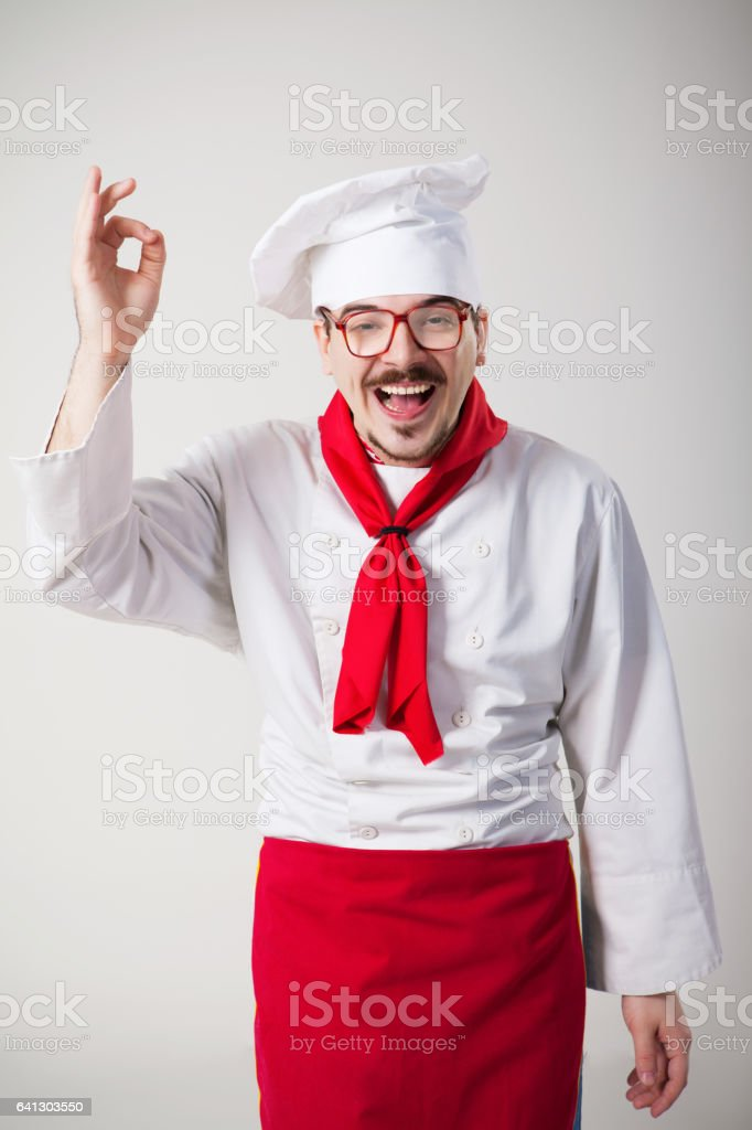 Funny chef with glasses stock photo