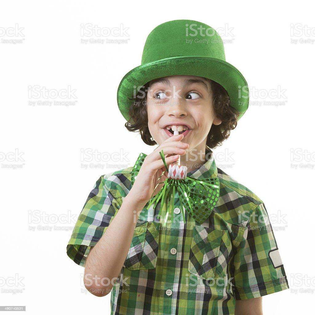 Funny Child during Saint Patrick celebrations royalty-free stock photo