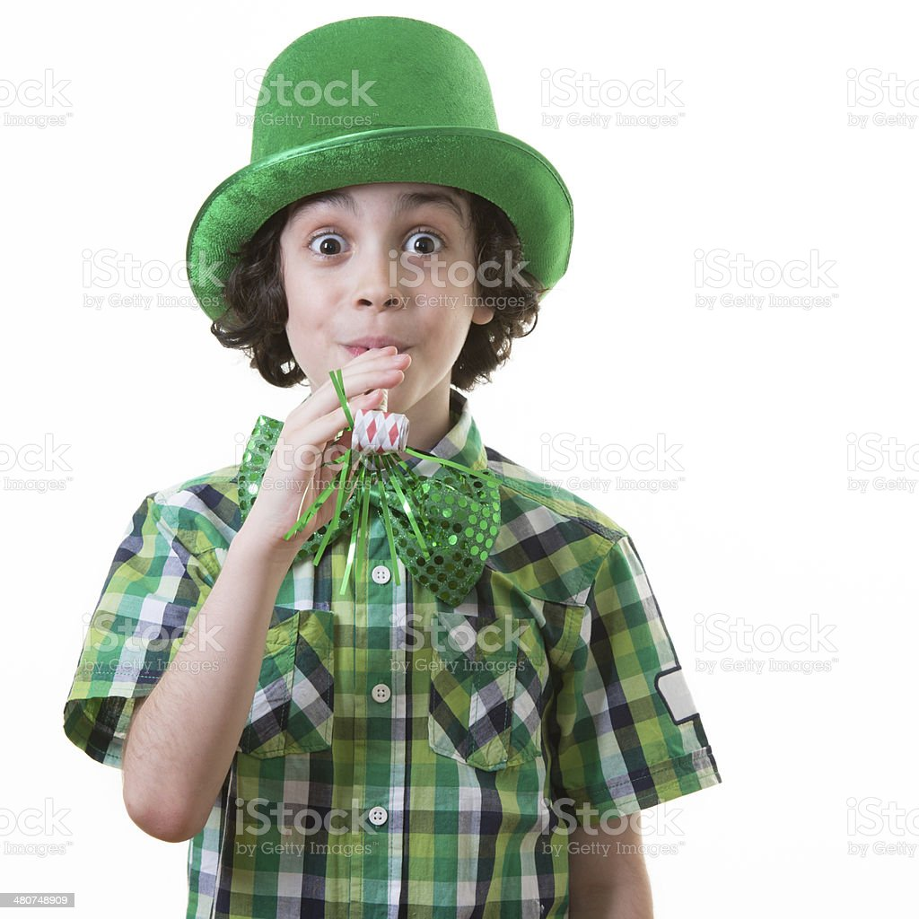 Funny Child during Saint Patrick celebrations royalty-free stock photo