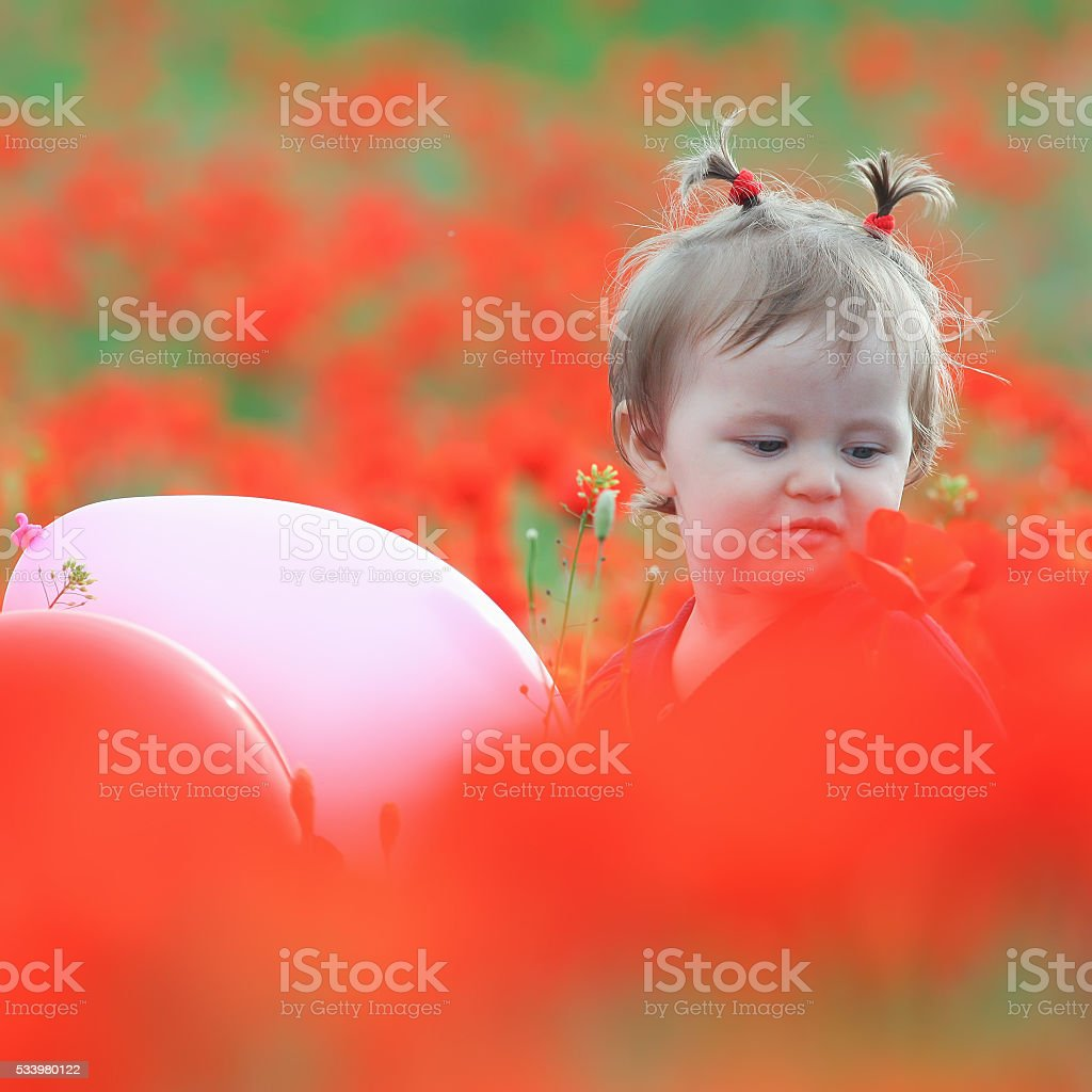 Funny child holding a balloon outdoor at poppy field stock photo