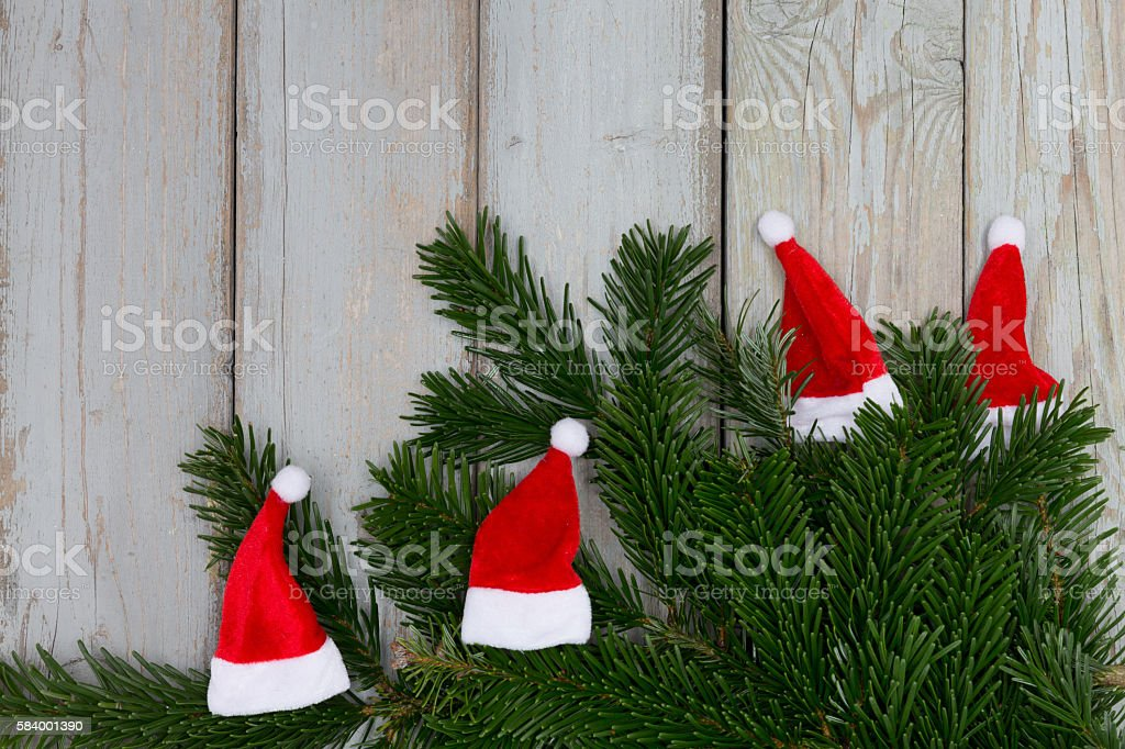 funny christmas santa hats stock photo