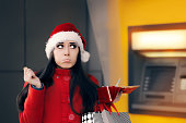 Funny Christmas Woman Holding a Coin