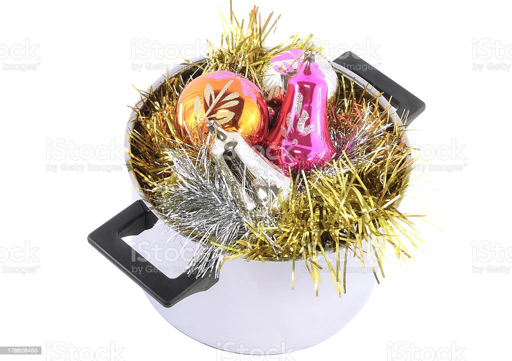 Funny Christmas,New Year-balls,tinsel in saucepan royalty-free stock photo