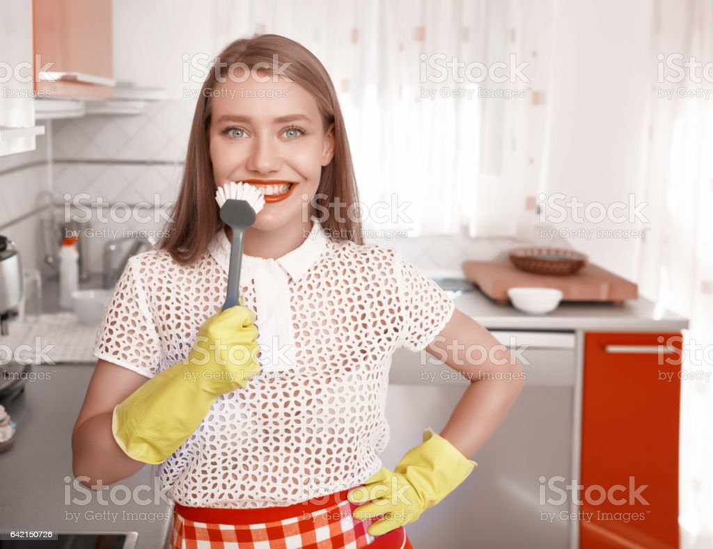funny cleaning time stock photo