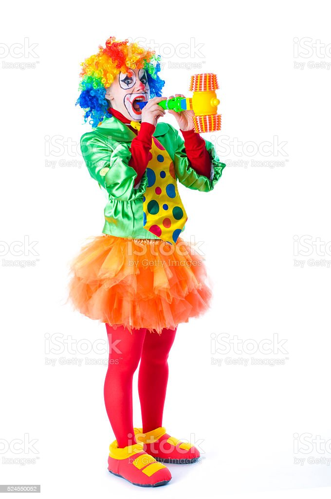 funny clown animator on children's holiday stock photo