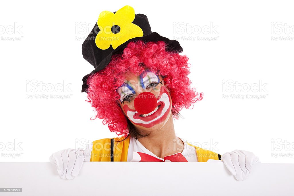 funny clown holding a banner stock photo