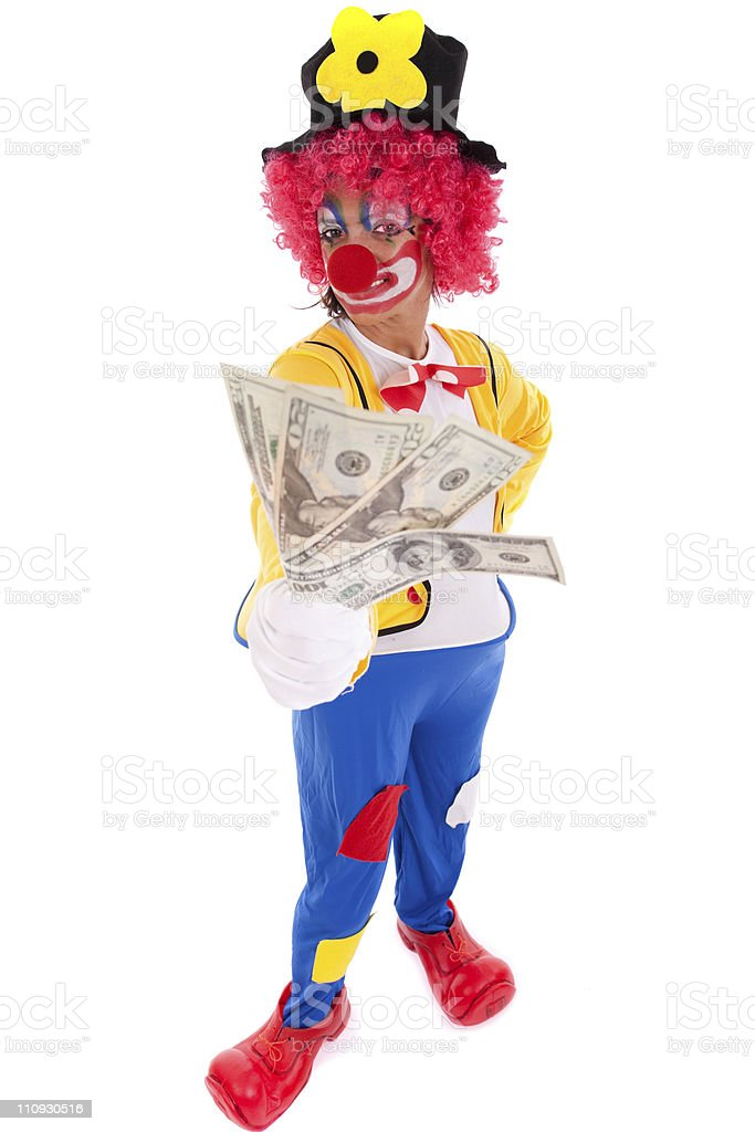 Funny clown holding money stock photo