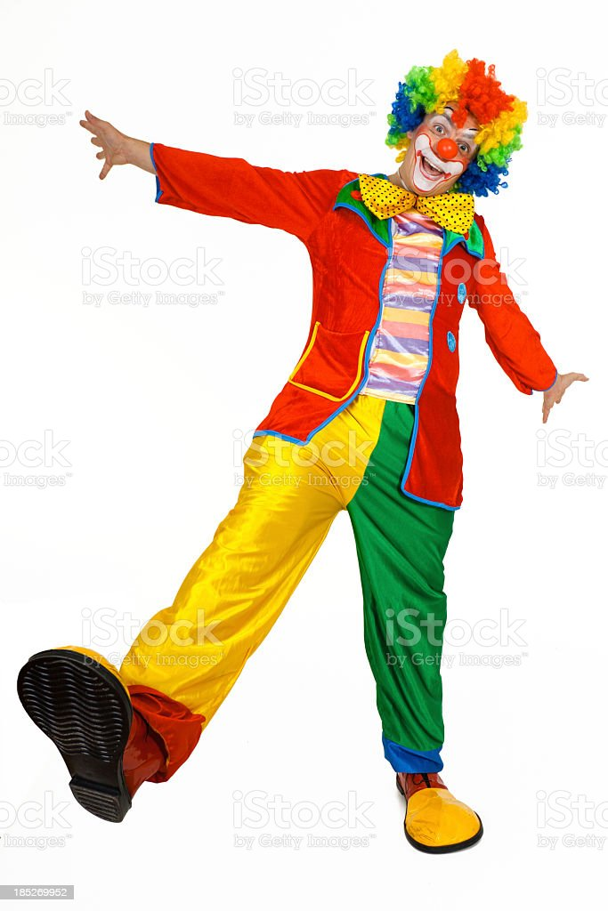 Funny clown in colorful costume stock photo