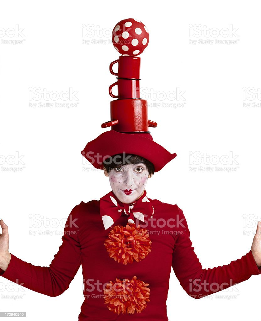 Funny clown white face and red lips stock photo