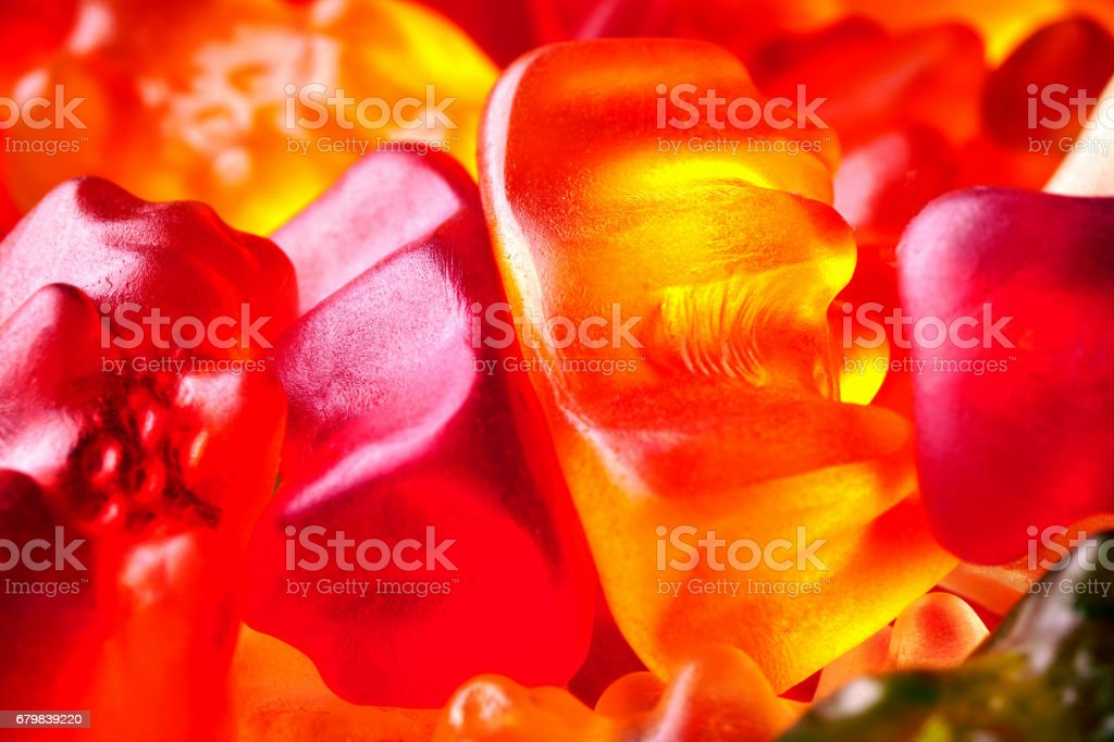 Funny Colorful Gummy Bears stock photo