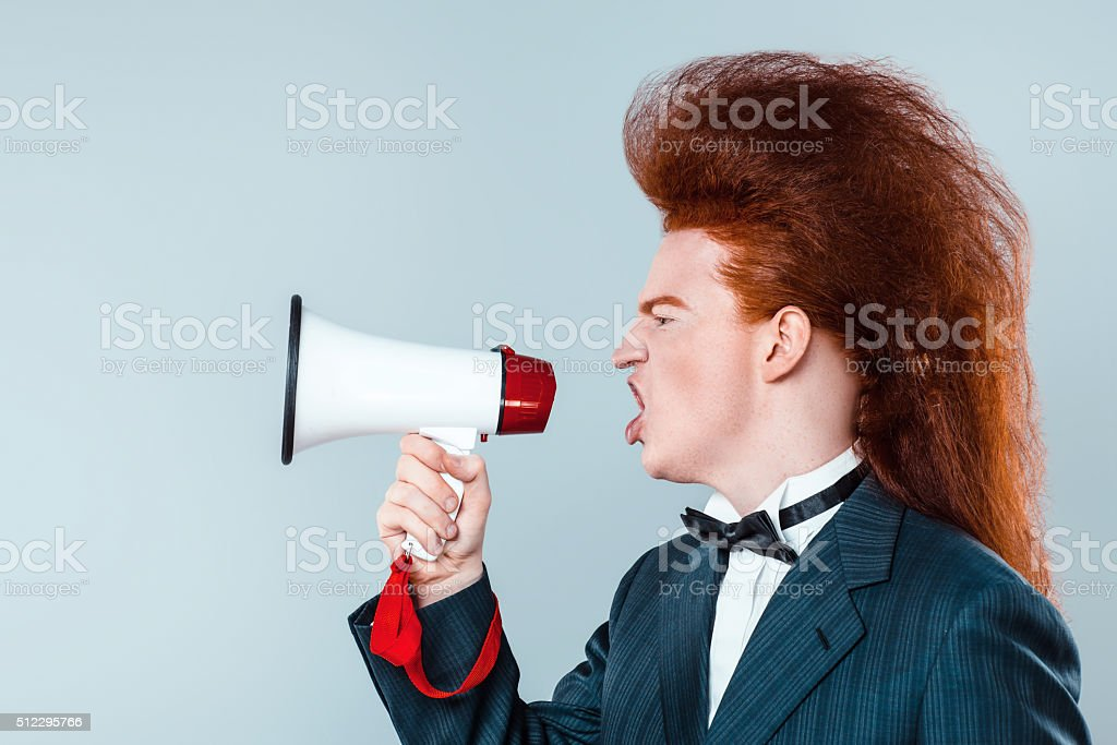 Funny concept for redheaded young man stock photo