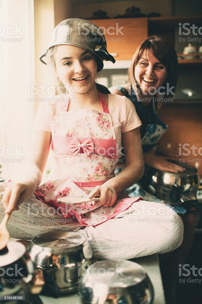 Funny cooking stock photo