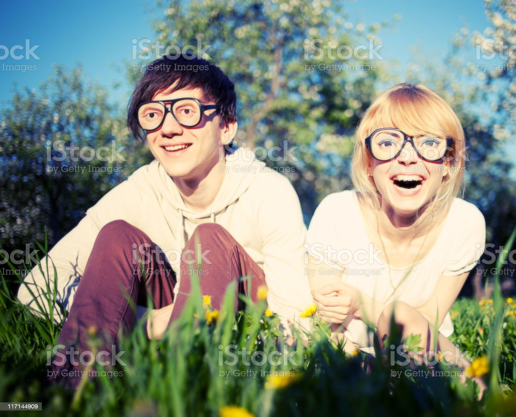Funny couple stock photo
