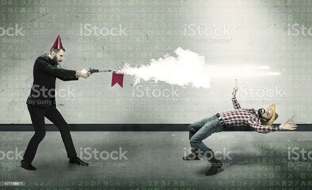 funny cow boys duell royalty-free stock photo