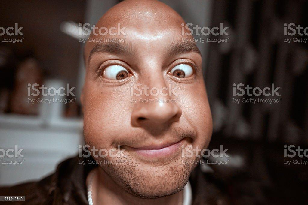 funny crossed eyed portrait stock photo