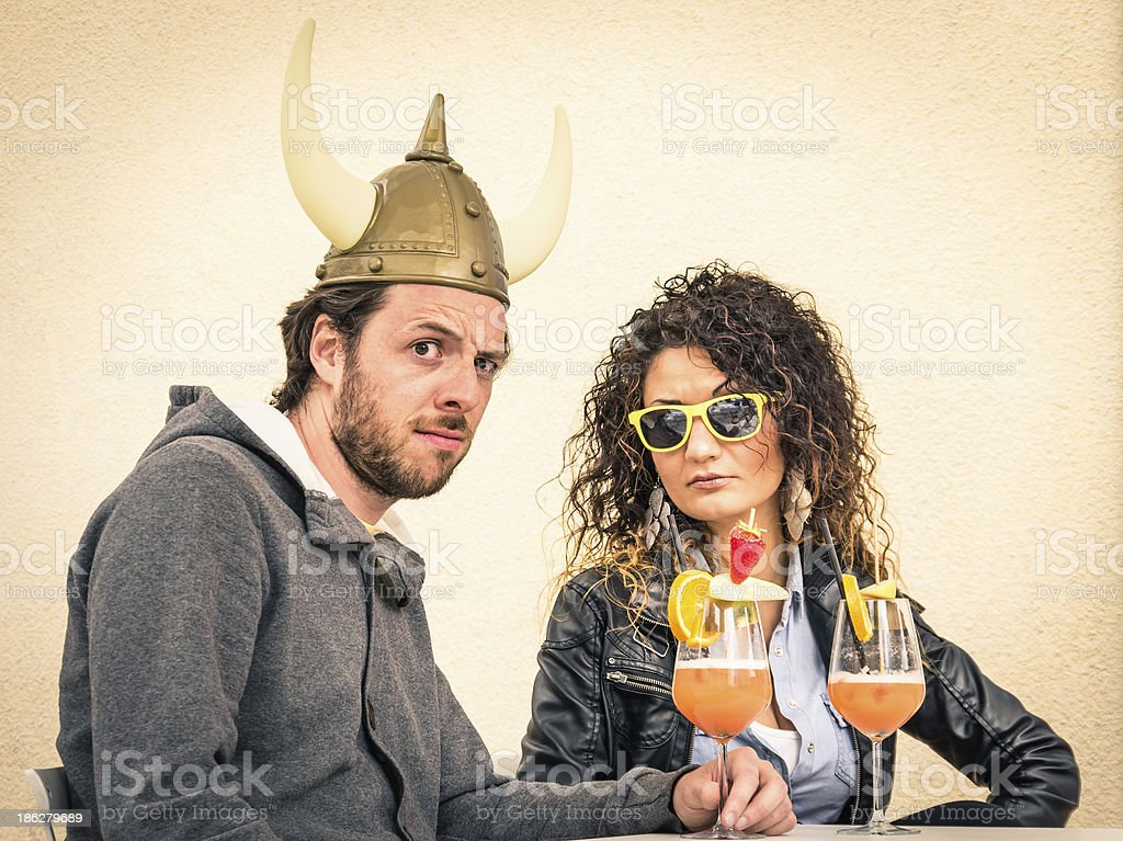 Funny cuckold Boy with fashion Girlfriend stock photo