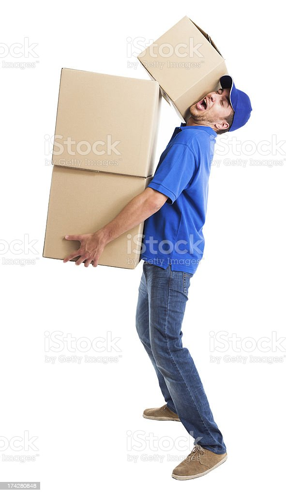 Funny deliverer royalty-free stock photo