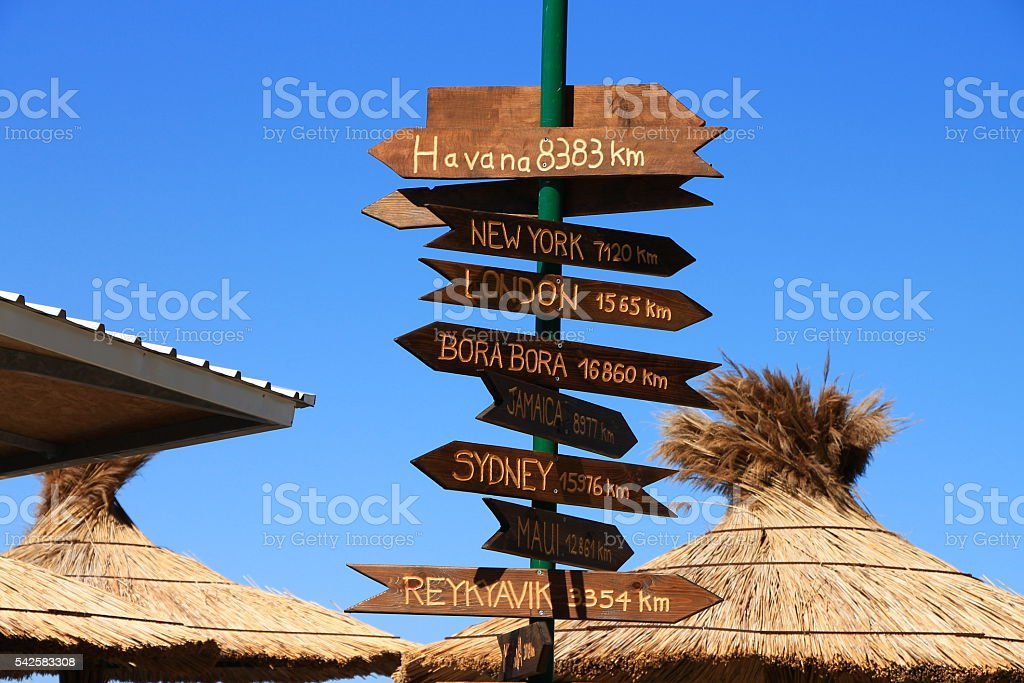 Funny direction signpost stock photo