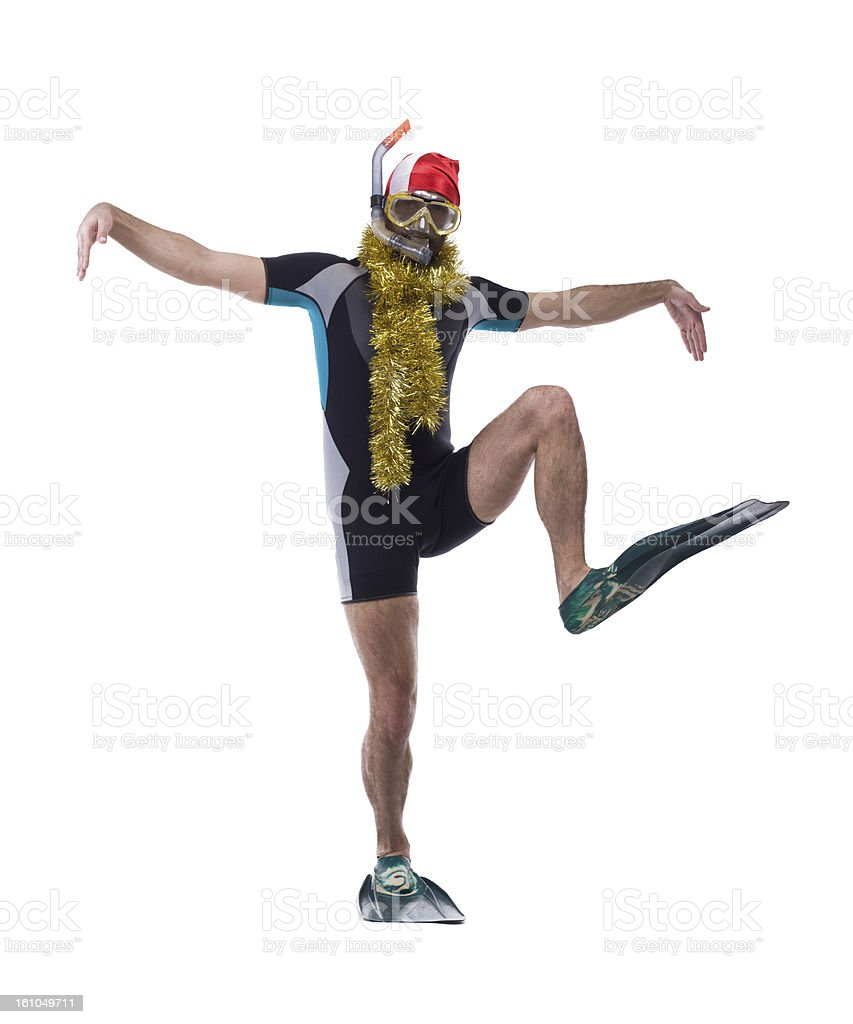 Funny diver in mask and flippers with garland stock photo