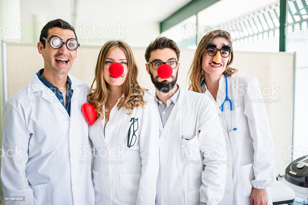 Funny doctors at the hospital stock photo