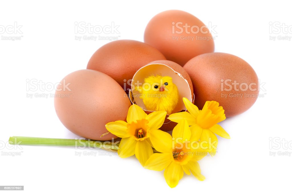 Funny Easter decoration on white background stock photo