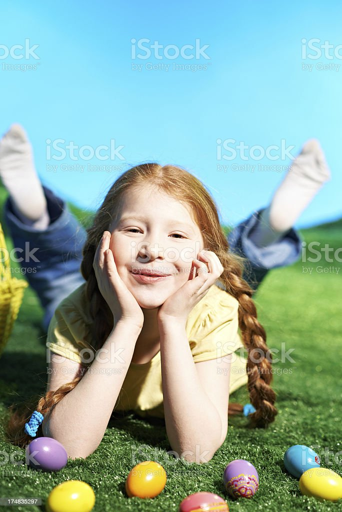 Funny Easter girl royalty-free stock photo