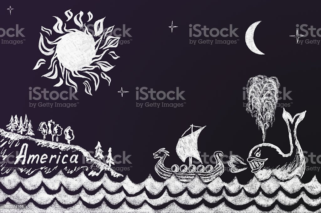 Funny education chalk drawing about how the whale forced Viking stock photo