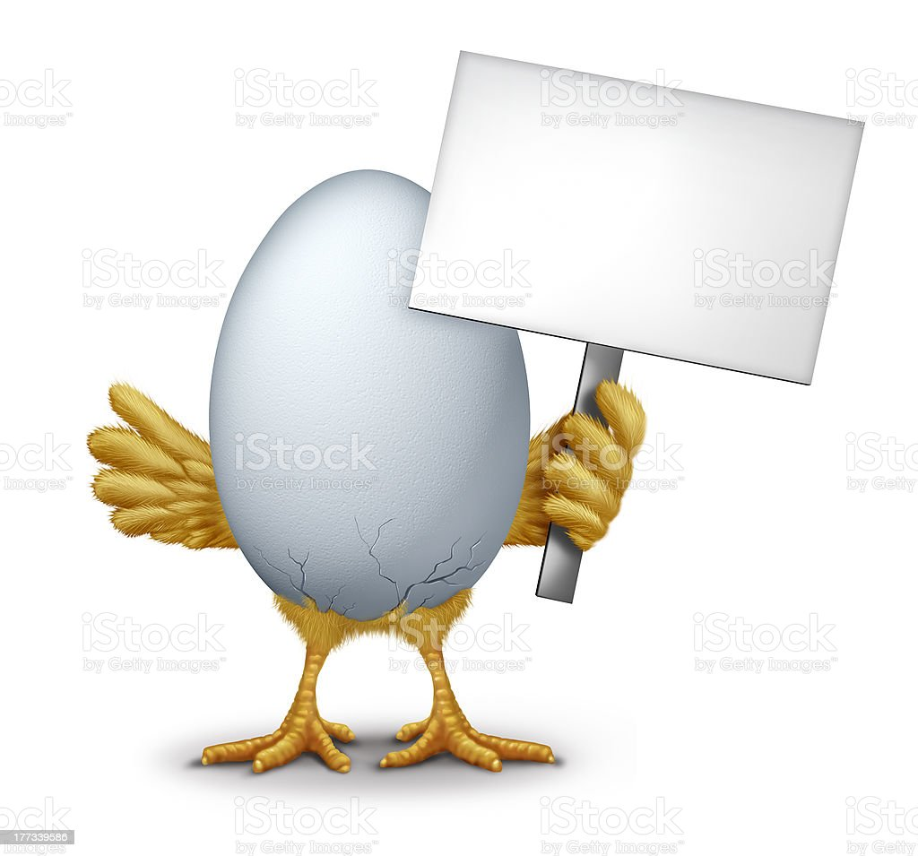 Funny Egg With A Blank Sign stock photo