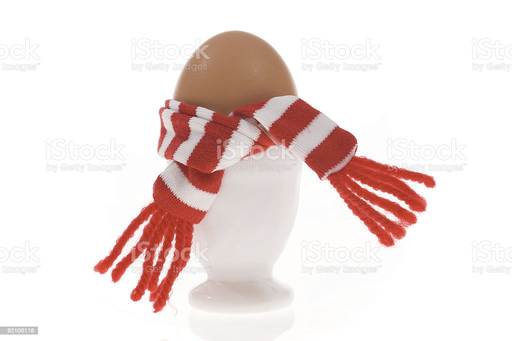 funny egg with stripped scarf royalty-free stock photo