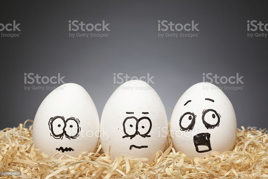 Funny Eggs Stories - Scared stock photo