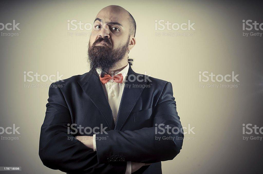 funny elegant bearded man stock photo