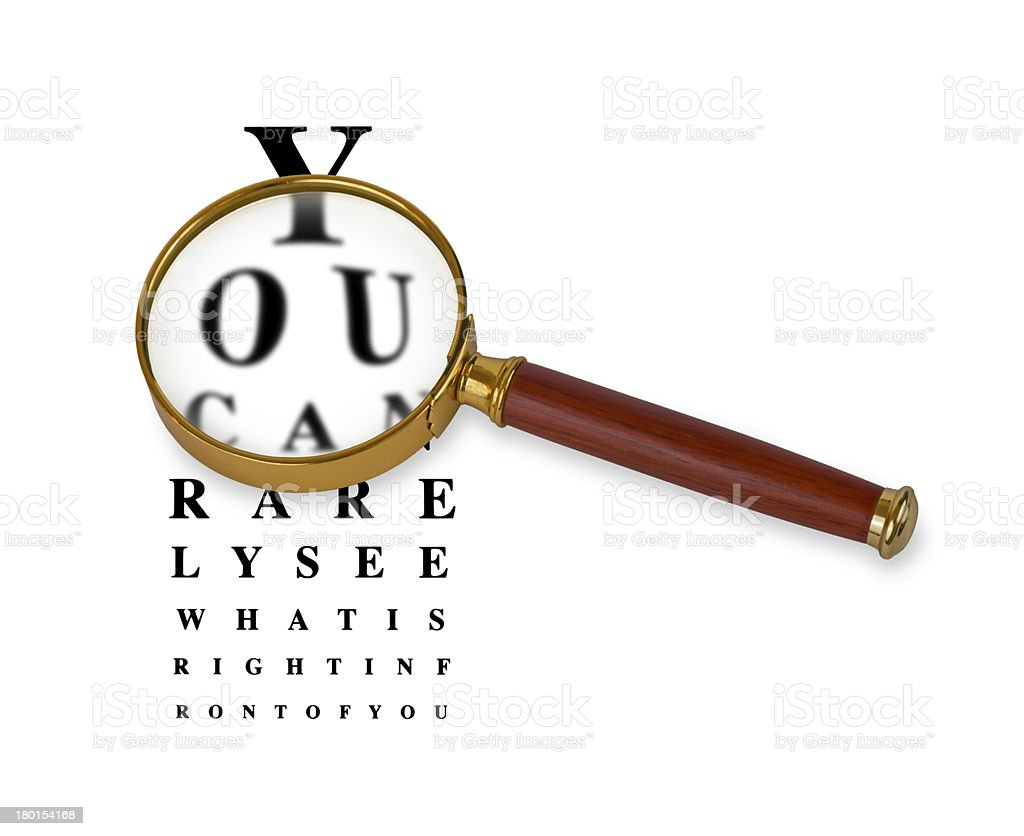 Funny Eyetest Chart with Magnifying Glass stock photo