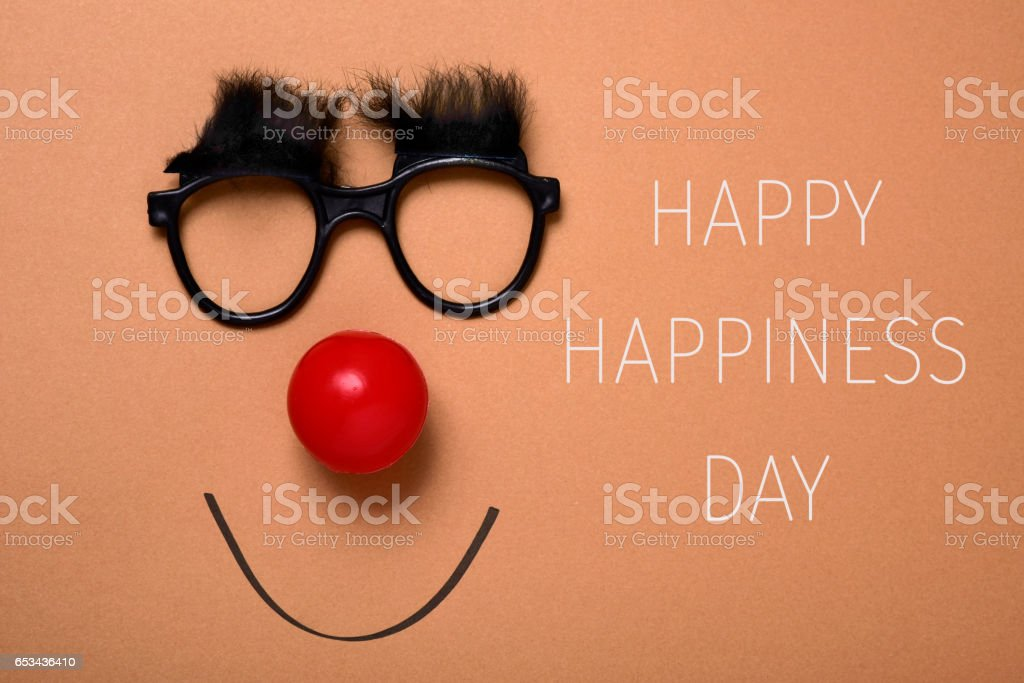 funny face and text happy happiness day stock photo