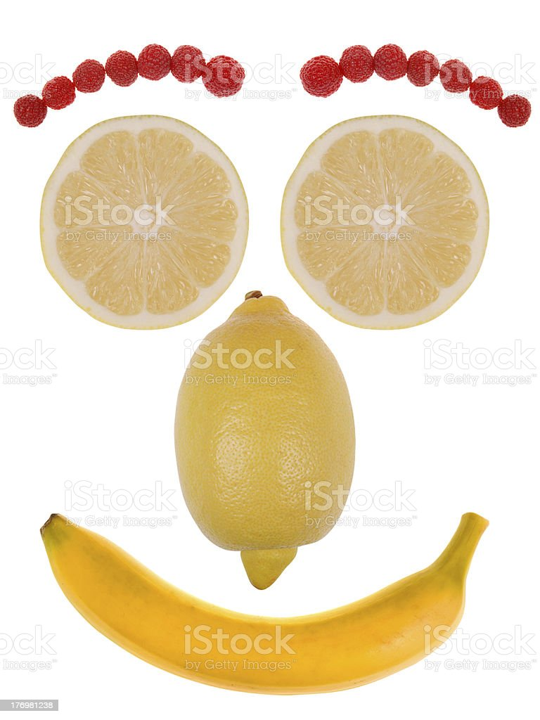 Funny face made from fruit royalty-free stock photo