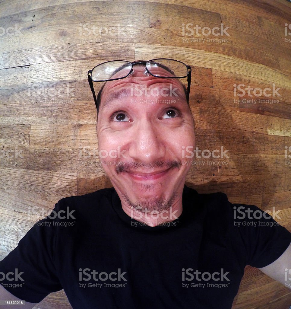Funny Face selfie Looking Up royalty-free stock photo