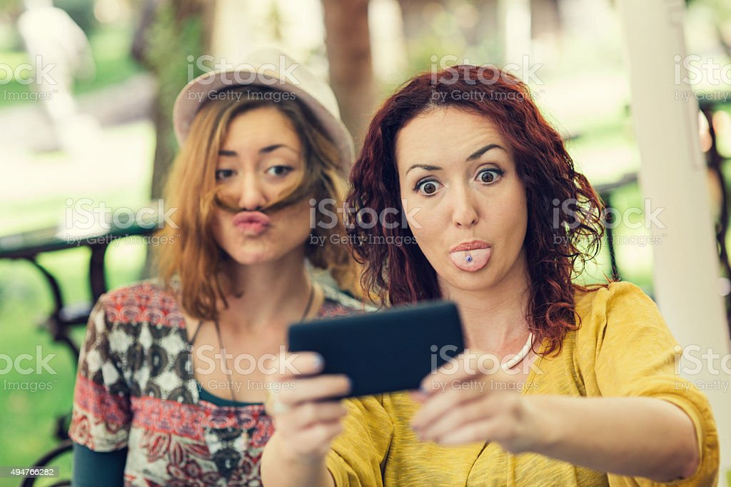 Funny face selfie stock photo