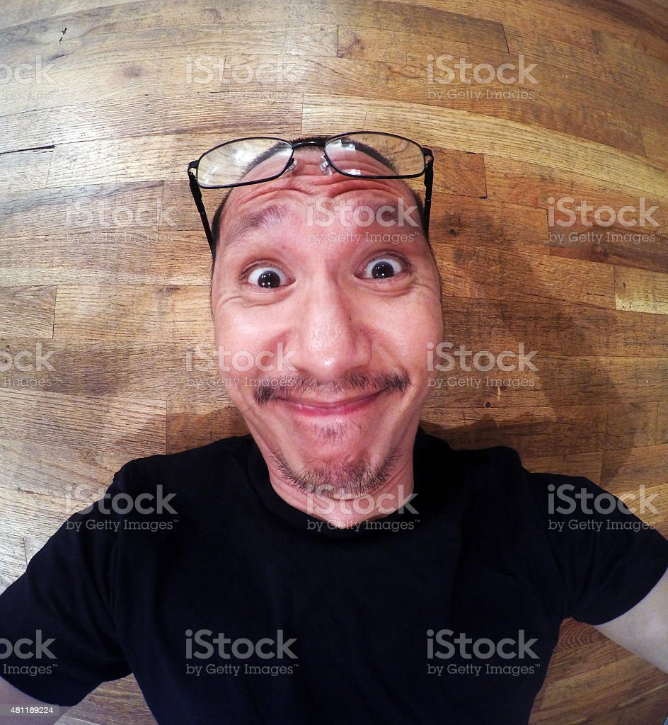 Funny Face Selfie with Glasses royalty-free stock photo