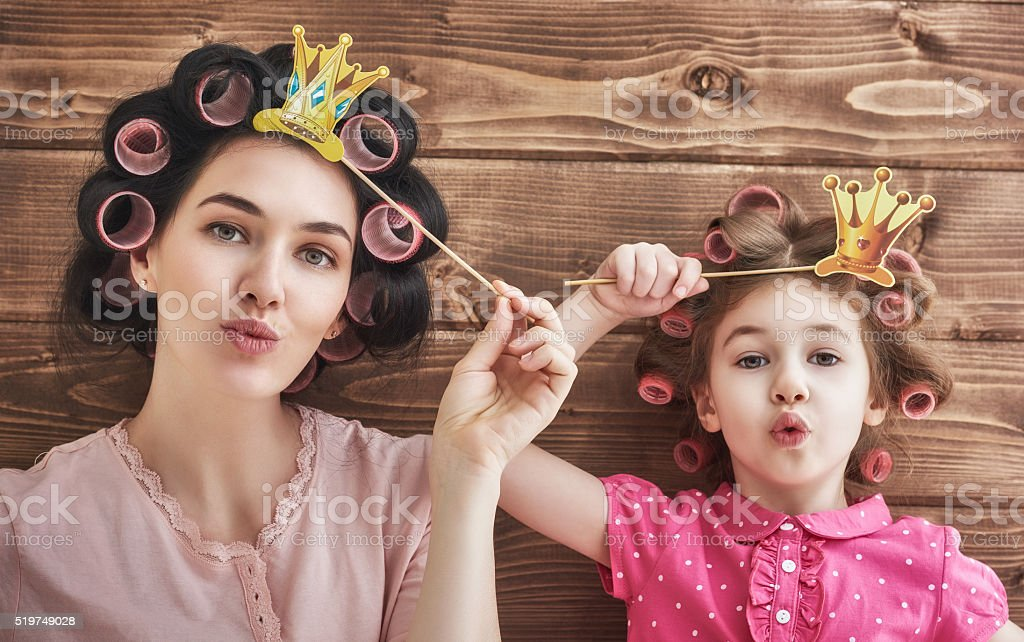 Funny family with a paper accessories stock photo